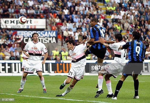Adriano scores for Inter Milan during the Serie A match between Inter Milan and Palermo on 18 September 2004 in Milan Itlay