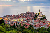 Panoramic view of Adriatic sea and city of Piran in Istria, Slovenia.