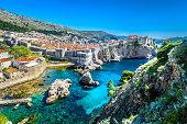 Aerial panoramic view at famous european travel destination, Dubrovnik cityscape on Adriatic Coast, Croatia.