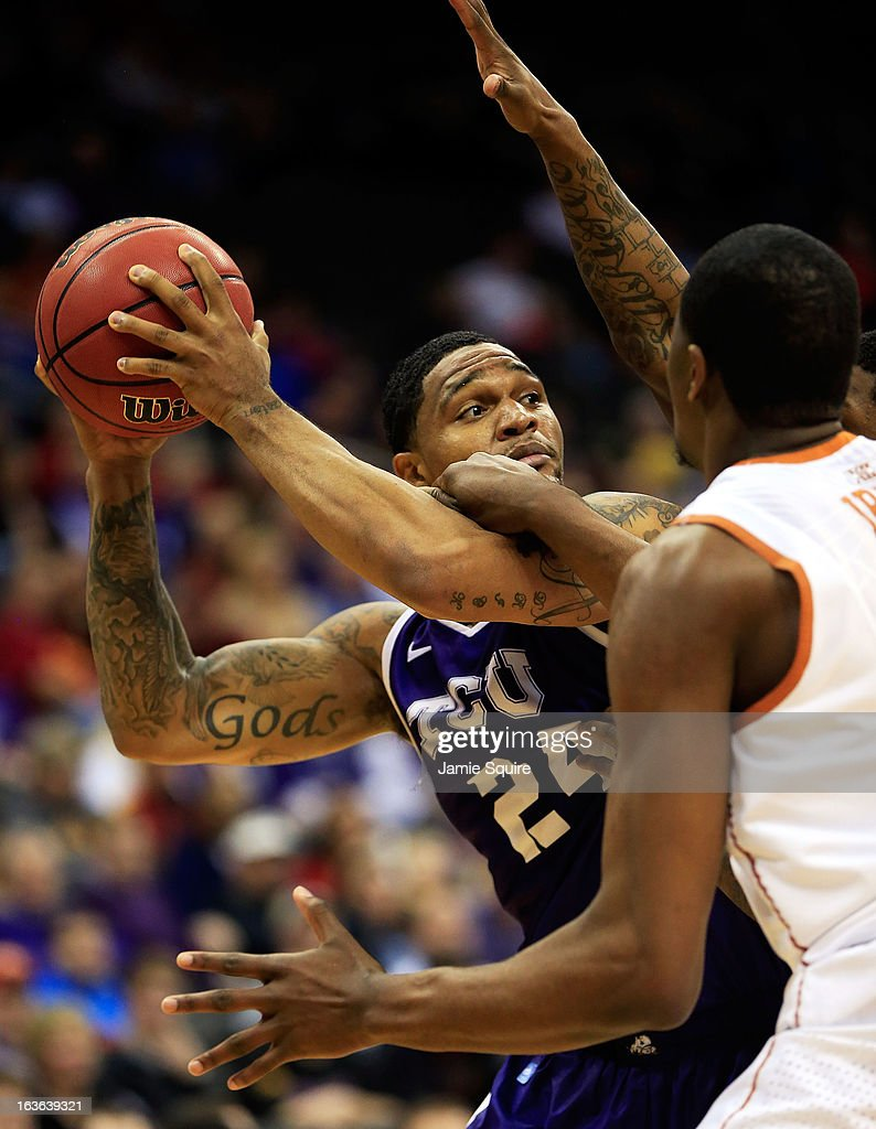 Adrick McKinney #24 of the TCU Horned Frogs looks to pass during the first round of the 2013 Big 12 Men's Basketball Championship against the Texas Longhorns at Sprint Center on March 13, 2013 in Kansas City, Missouri.