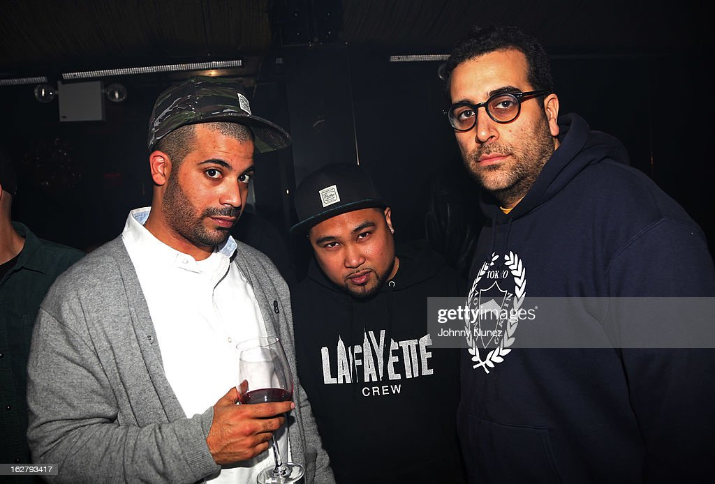 Adriel Ortiz, DJ Get Live, and guest attend GETLIVE! With Max Glazer And Statik Selektah at Lil Charlie's on February 26, 2013 in New York City.