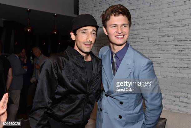 Adrien Brody and Ansel Elgort attend TriStar Pictures with The Cinema Society Avion host the after party for 'Baby Driver' at The Crown at Hotel 50...