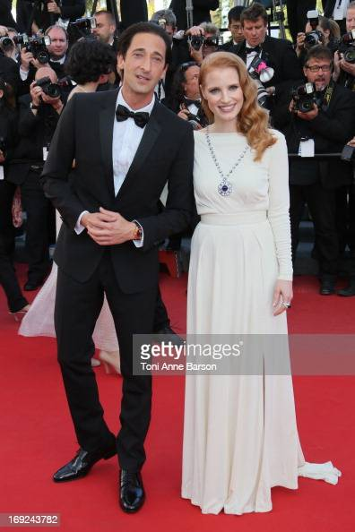 Adrien Brody and Jessica Chastain attend the Premiere of 'Cleopatra' during the 66th Annual Cannes Film Festival at the Palais des Festivals on May...