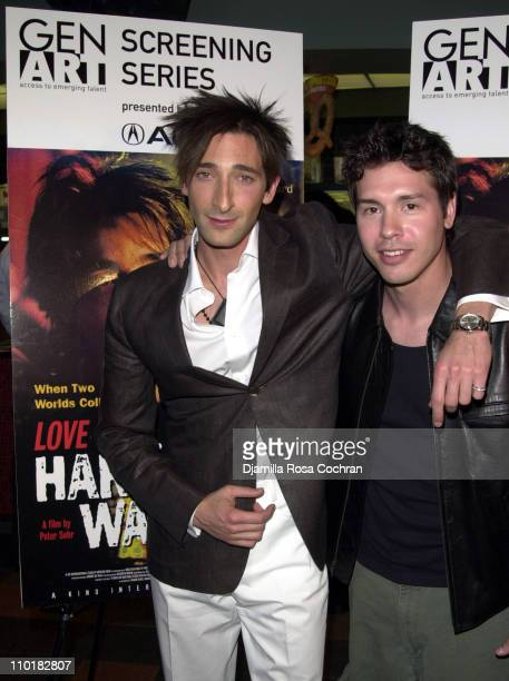 Adrien Brody and Jon Seda during Gen Art Presents the World Premiere of 'Love The Hard Way' at Chelsea West Theater in New York City New York United...