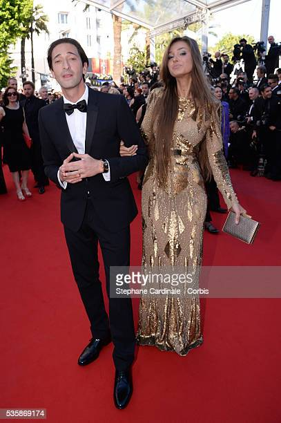 Adrien Brody and Lara Leito attend the 'Behind The Candelabra' premiere during the 66th Cannes International Film Festival