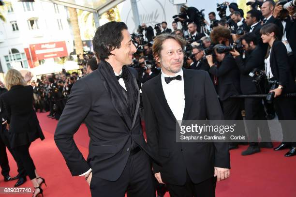 Adrien Brody and Mathieu Amalric attend the 'Based On A True Story' premiere during the 70th annual Cannes Film Festival at Palais des Festivals on...