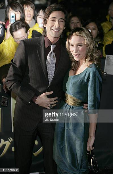 Adrien Brody and Michelle Dupont during 'King Kong' Tokyo Premiere Red Carpet at Tokyo International Forum in Tokyo Japan