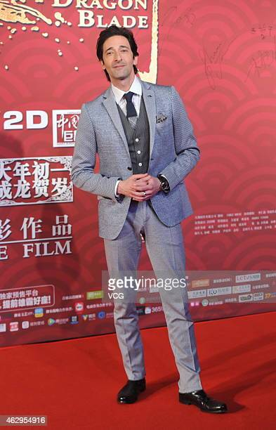 Adrien Brody attends premiere of director Daniel Lee Yankong's new film 'Dragon Blade' on February 7 2015 in Beijing China