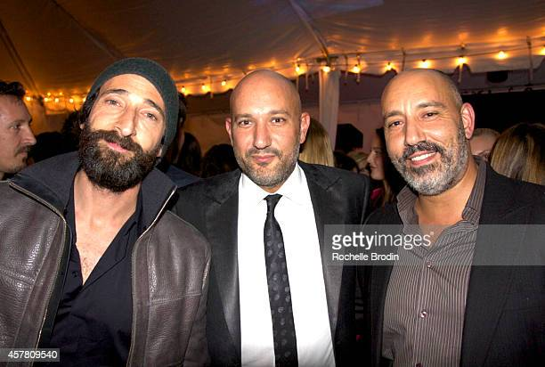 Adrien Brody Steph Sebbag and Eric Sebbag attend Brian Bowen Smith's WILDLIFE Show Hosted By Casamigos Tequila at De Re Gallery on October 23 2014 in...