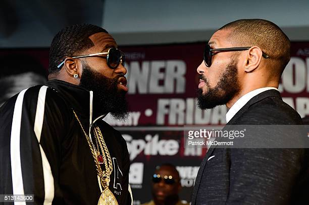 Adrien Broner and Ashely Theophane go face to face during a press conference to announce the fight between Adrien Broner and Ashely Theophane at W...