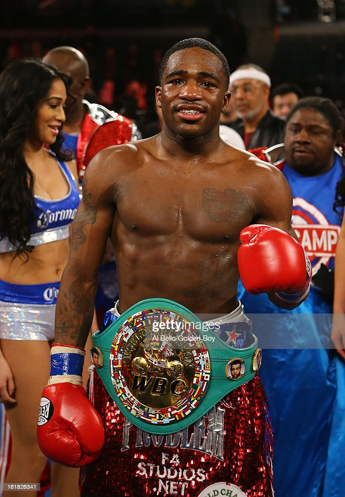 Adrien Broner celebrates a fifth round TKO against Gavin Rees after their WBC Lightweight Title fight at Atlantic City Boardwalk Hall on February 16, 2013 in Atlantic City, New Jersey.