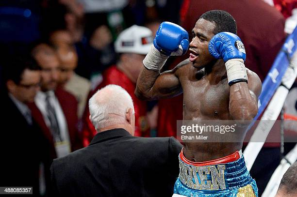 Adrien Broner celebrates his unanimousdecision victory over Carlos Molina after their super lightweight bout at the MGM Grand Garden Arena on May 3...