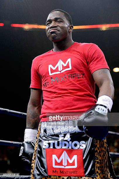 Adrien Broner enters the ring prior to a Premier Boxing Champions bout against John Molina Jr in the MGM Grand Garden Arena on March 7 2015 in Las...