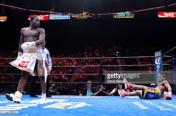 Adrien Broner heads to a neutral corner after knocking down Shawn Porter during their welterweight fight at MGM Grand Garden Arena on June 20 2015 in...