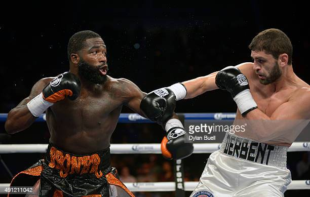 Adrien Broner left and Khabib Allakhverdiev trade punches during a fight at US Bank Arena on October 3 2015 in Cincinnati Ohio