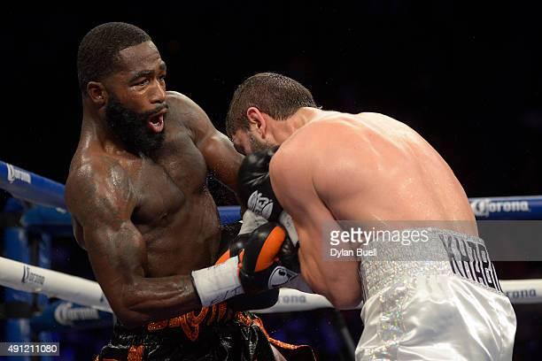 Adrien Broner left lands a punch on Khabib Allakhverdiev during a fight at US Bank Arena on October 3 2015 in Cincinnati Ohio