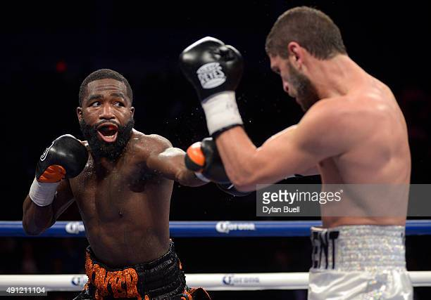 Adrien Broner left takes a swing at Khabib Allakhverdiev during a fight at US Bank Arena on October 4 2015 in Cincinnati Ohio