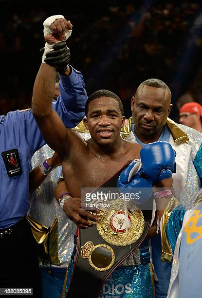 Adrien Broner reacts after his unanimousdecision victory over Carlos Molina in their super lightweight bout at the MGM Grand Garden Arena on May 3...