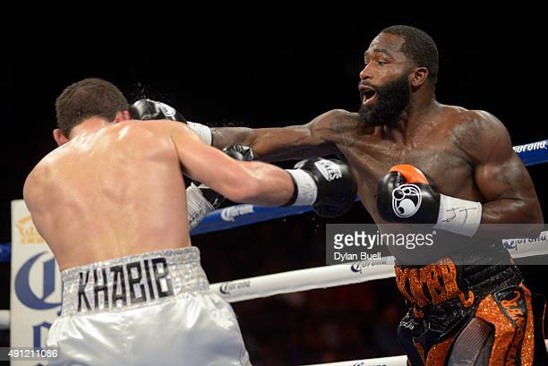 Adrien Broner right lands a punch on Khabib Allakhverdiev during a fight at US Bank Arena on October 3 2015 in Cincinnati Ohio