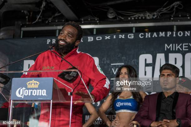 Adrien Broner speaks to the press during the Adrien Broner vs Mikey Garcia Final Press Conference at the Dream Hotel July 27 2017 in New York City