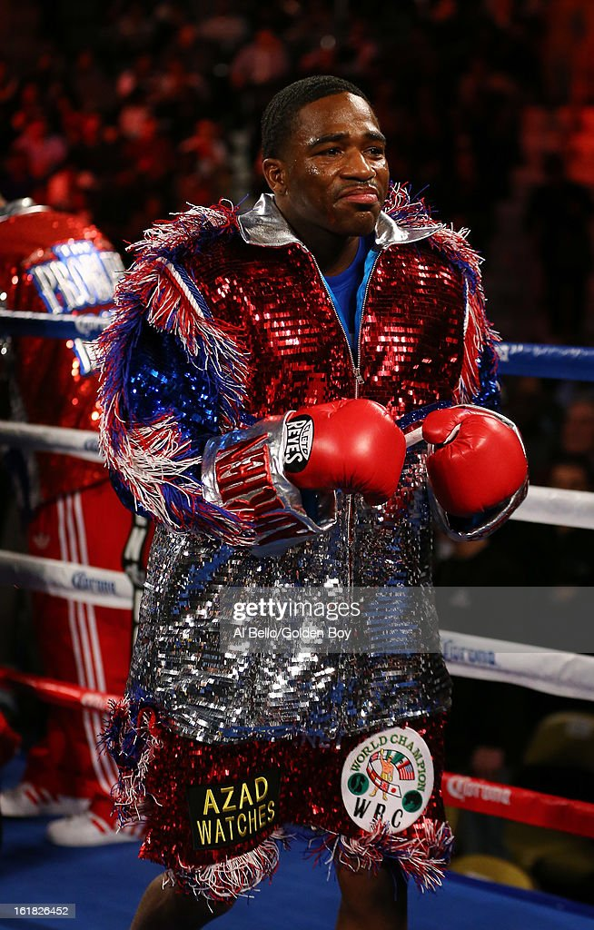 Adrien Broner stands in his corner before his fight against <a gi-track='captionPersonalityLinkClicked' href=/galleries/search?phrase=Gavin+Rees&family=editorial&specificpeople=3375830 ng-click='$event.stopPropagation()'>Gavin Rees</a> during their WBC Lightweight Title fight at Atlantic City Boardwalk Hall on February 16, 2013 in Atlantic City, New Jersey.