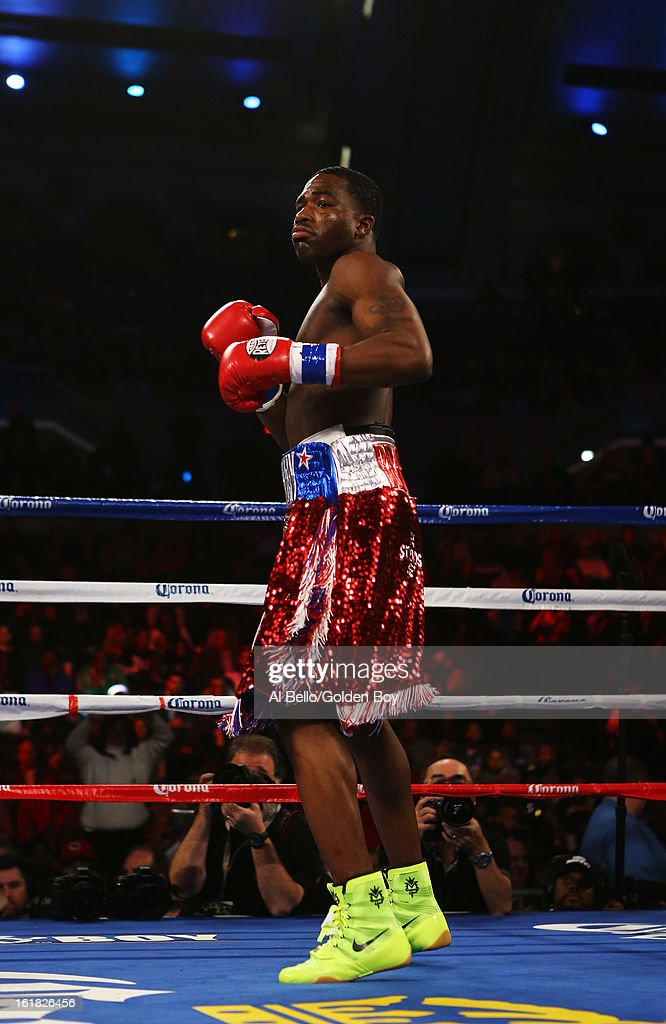 Adrien Broner stands in his corner before his fight against Gavin Rees during their WBC Lightweight Title fight at Atlantic City Boardwalk Hall on February 16, 2013 in Atlantic City, New Jersey.
