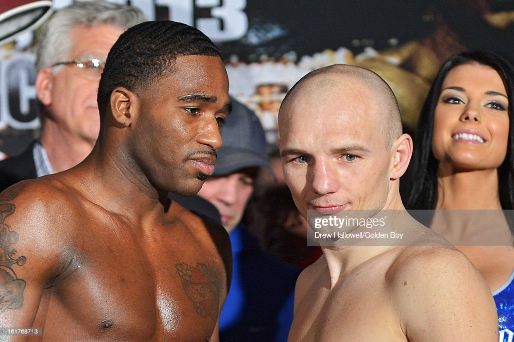 Adrien Broner stares down at <a gi-track='captionPersonalityLinkClicked' href=/galleries/search?phrase=Gavin+Rees&family=editorial&specificpeople=3375830 ng-click='$event.stopPropagation()'>Gavin Rees</a> of Wales during weigh-in before the WBC Lightweight World Championship at Caesars Atlantic City on February 15, 2013 in Atlantic City, New Jersey.