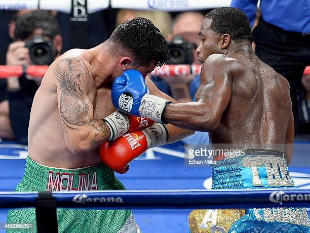 Adrien Broner throws a left at the head of Carlos Molina during their super lightweight bout at the MGM Grand Garden Arena on May 3 2014 in Las Vegas...