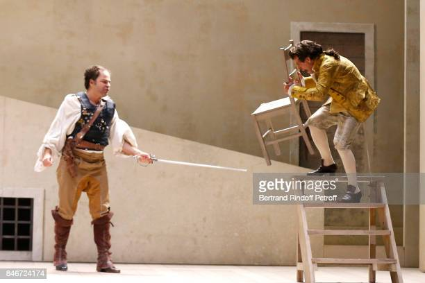 Adrien GambaGontard and Maxime d'Aboville perform in 'Les Jumeaux Venitiens' Press Theater Play at Theatre Hebertot on September 6 2017 in Paris...