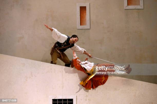 Adrien GambaGontard and Thibault Lacroix perform in 'Les Jumeaux Venitiens' Press Theater Play at Theatre Hebertot on September 6 2017 in Paris France