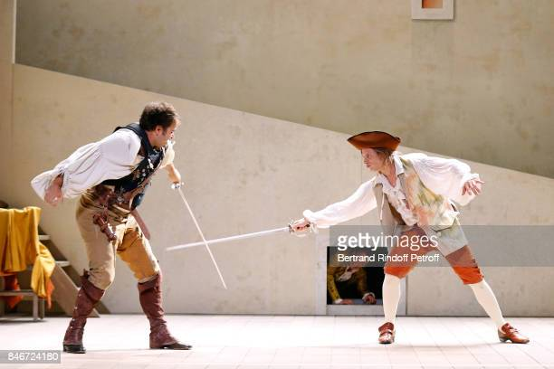 Adrien GambaGontard Maxime d'Aboville and Thibault Lacroix perform in 'Les Jumeaux Venitiens' Press Theater Play at Theatre Hebertot on September 6...