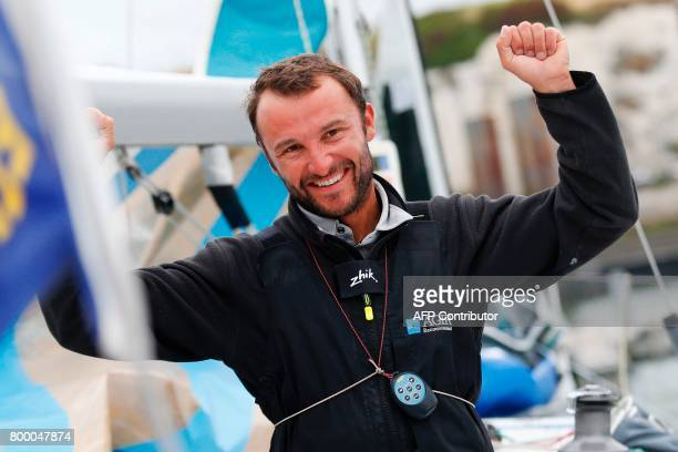 Adrien Hardy French skipper of 'Agir Recouvrement' celebrates after finishing 2nd of the race and 12th of the last stage of the 48th Solitaire du...