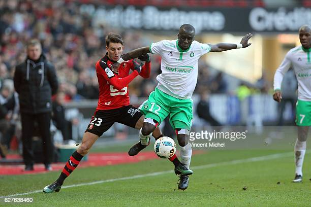 Adrien Hunou of Rennes and of Cheik Mbengue of SaintEtienne during the Ligue 1 match between Stade Rennais and AS SaintEtienne at Roazhon Park on...