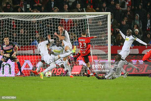 Adrien Hunou of Rennes during the Ligue 1 match between Stade Rennais and Sco Angers at Stade de la Route de Lorient on November 19 2016 in Rennes...