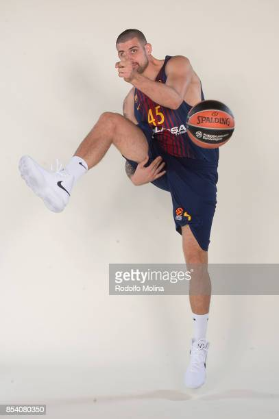 Adrien Moerman #45 poses during FC Barcelona Lassa 2017/2018 Turkish Airlines EuroLeague Media Day at Palau Blaugrana on September 25 2017 in...