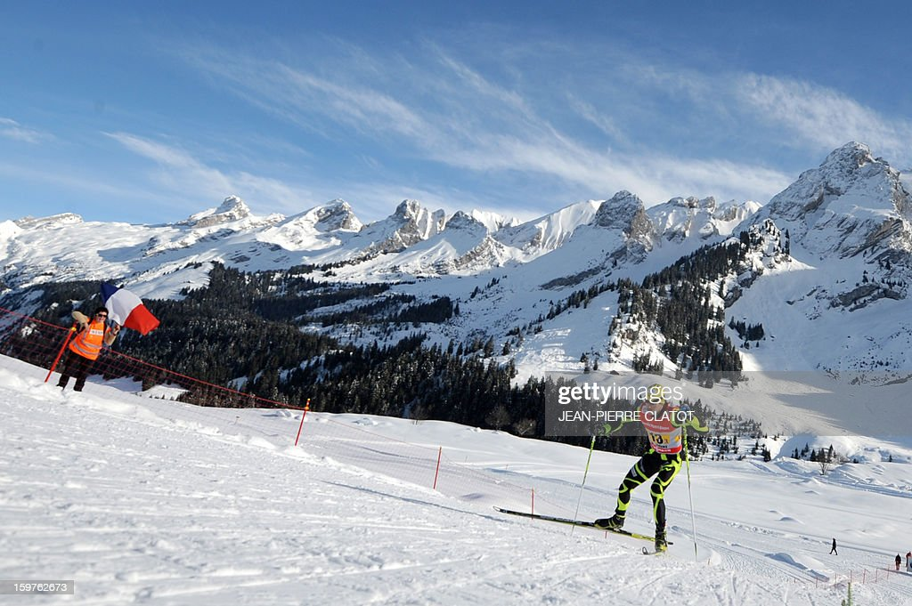 Adrien Mougel competes in the Nordic skiing combined World Cup relay (4 x 7,5 km) on January 20, 2013 in La Clusaz, eastern France.