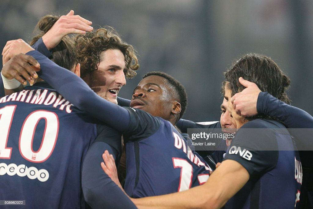 <a gi-track='captionPersonalityLinkClicked' href=/galleries/search?phrase=Adrien+Rabiot&family=editorial&specificpeople=9515039 ng-click='$event.stopPropagation()'>Adrien Rabiot</a> and <a gi-track='captionPersonalityLinkClicked' href=/galleries/search?phrase=Serge+Aurier&family=editorial&specificpeople=6716046 ng-click='$event.stopPropagation()'>Serge Aurier</a> of Paris Saint-Germain celebrate the goal of Angel Di Maria during the French Ligue 1 between Olympique de Marseille and Paris Saint-Germain at Stade Velodrome on february 7, 2016 in Marseille, France.