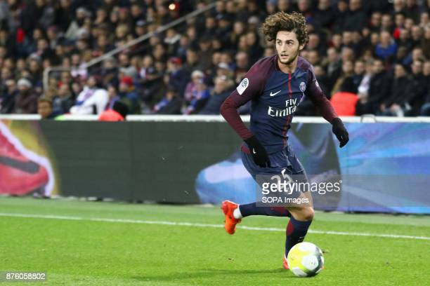 Adrien Rabiot in action during the French Ligue 1 soccer match between Paris Saint Germain and FC Nantes at Parc des Princes