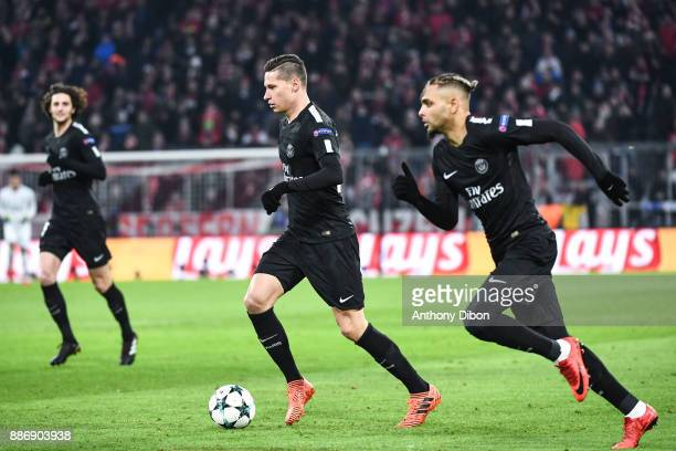 Adrien Rabiot Julian Draxler and Layvin Kurzawa of PSG during the UEFA Champions League match between Bayern Munich and Paris Saint Germain at...