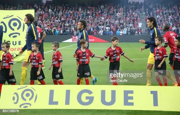 Adrien Rabiot Neymar Jr Edinson Cavani of PSG before the French Ligue 1 match between En Avant Guingamp and Paris Saint Germain at Stade de Roudourou...