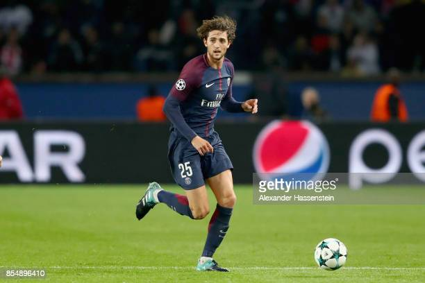 Adrien Rabiot of Paris runs with the ball during the UEFA Champions League group B match between Paris SaintGermain and Bayern Muenchen at Parc des...