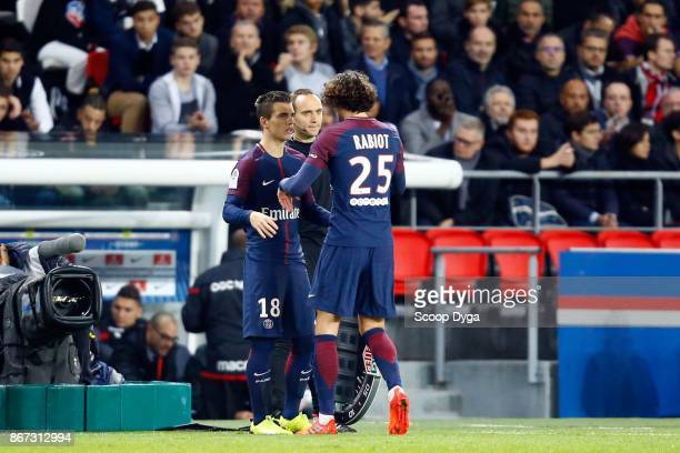 Adrien Rabiot of Paris Saint Germain and Giovani Lo Celso of Paris Saint Germain during the Ligue 1 match between Paris Saint Germain and OGC Nice at...