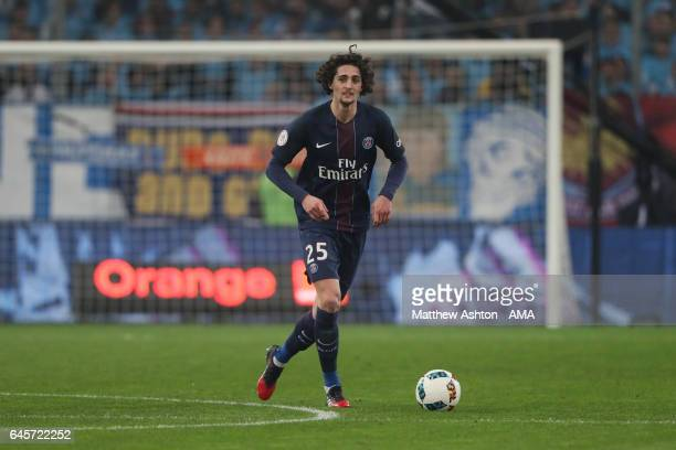 Adrien Rabiot of Paris Saint Germain during the French Ligue 1 match Marseille and Paris Saint Germain at Stade Velodrome on February 26 2017 in...