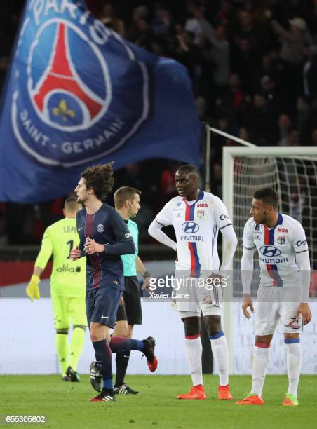 Adrien Rabiot of Paris SaintGermain celebrate his goal during the French Ligue 1 match between Paris Saint Germain and Lyon OL at Parc des Princes on...