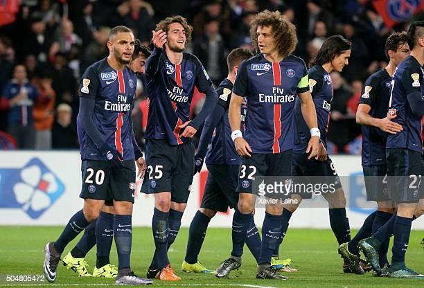 Adrien Rabiot of Paris SaintGermain celebrate his goal with Layvin Kurzawa and David Luiz during the French Ligue Cup between Paris SaintGermain and...