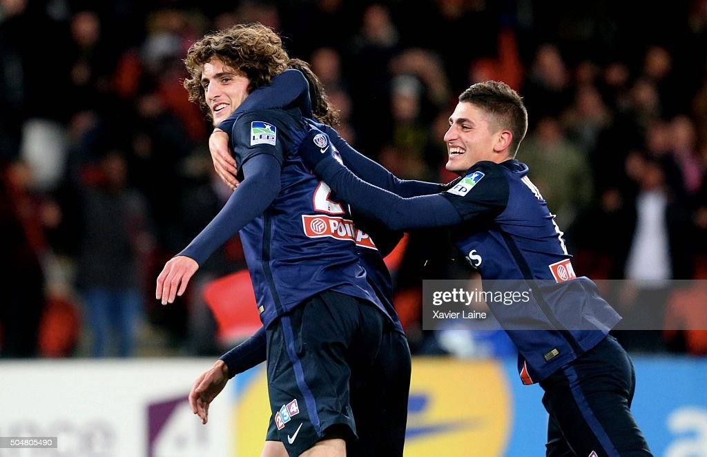 <a gi-track='captionPersonalityLinkClicked' href=/galleries/search?phrase=Adrien+Rabiot&family=editorial&specificpeople=9515039 ng-click='$event.stopPropagation()'>Adrien Rabiot</a> #25 of Paris Saint-Germain celebrate his goal with <a gi-track='captionPersonalityLinkClicked' href=/galleries/search?phrase=Marco+Verratti&family=editorial&specificpeople=7256509 ng-click='$event.stopPropagation()'>Marco Verratti</a> #6 during the French Ligue Cup between Paris Saint-Germain and Olympic Lyonnais at Parc Des Princes on january 11, 2016 in Paris, France.