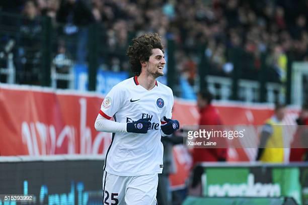 Adrien Rabiot of Paris SaintGermain celebrates his goal during the French Ligue 1 between ESTAC Troyes and Paris SaintGermain at Stade de l'Aube on...