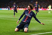 Adrien Rabiot of Paris SaintGermain celebrates scoring his team's second goal during the UEFA Champions League Quarter Final First Leg match between...