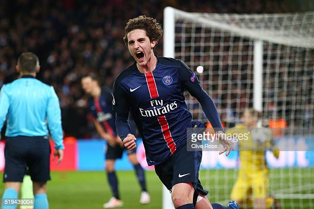 Adrien Rabiot of Paris SaintGermain celebrates scoring his team's second goal during the UEFA Champions League Quarter Final First Leg match between...