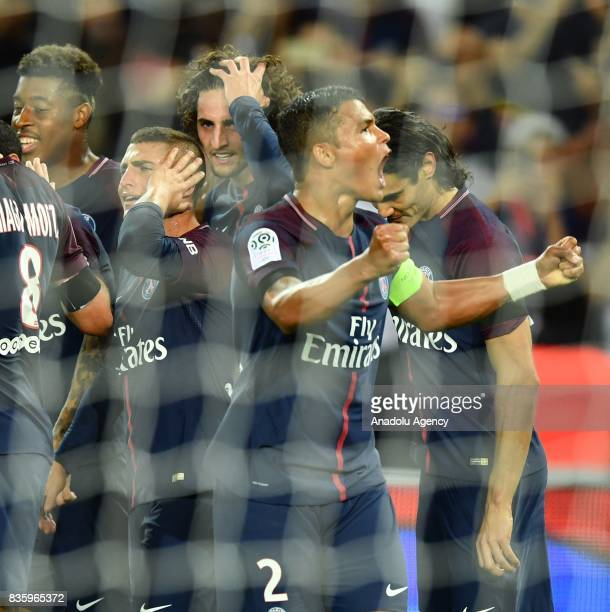 Adrien Rabiot of Paris SaintGermain celebrates with his teammates during the French Ligue 1 soccer match between Paris SaintGermain and Toulouse FC...